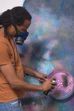 Mxolisi Vusimuzi Beauchamp at work. Image source, the artist facebook profile.