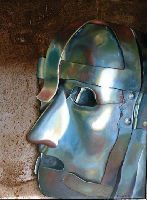 Ilandi Barkhuizen, Mask I, Oil on canvas steel, 29,7 x 42 cm
