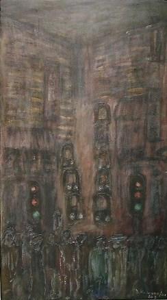 David Koloane, Street Scene (2001-2003), Acrylic on canvas. 1480 X 830 mm